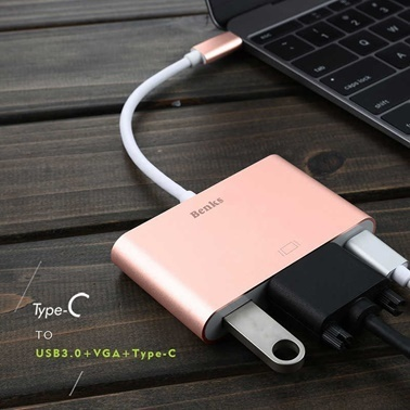 Benks U20 Macbook Type-C 3 in 1 Adaptör Çevirici (Usb 3.0+VGA+Type-c) Altın
